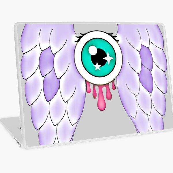 Pastel Goth   Winged Eye   Light Grey Laptop Skin