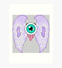 Pastel Goth   Winged Eye   Light Grey Art Print