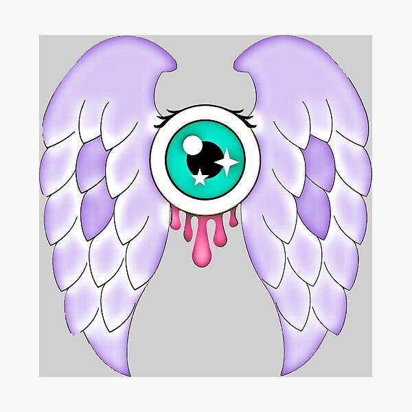 Pastel Goth | Winged Eye | Light Grey Photographic Print
