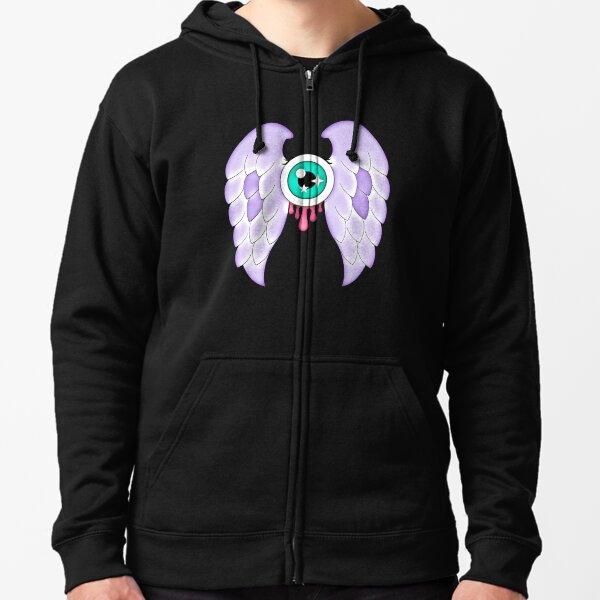 Pastel Goth   Winged Eye   Black Zipped Hoodie