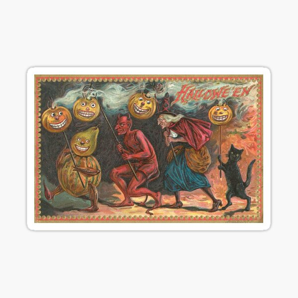 Vintage Halloween Greeting Cards Classic Posters Sticker