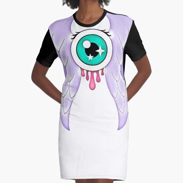 Pastel Goth | Winged Eye | White Graphic T-Shirt Dress
