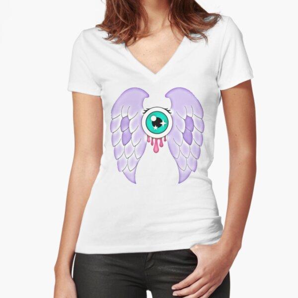 Pastel Goth | Winged Eye | White Fitted V-Neck T-Shirt