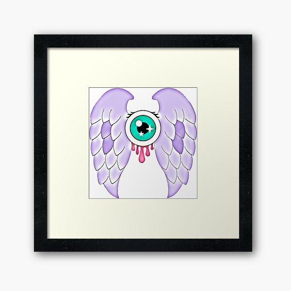 Pastel Goth   Winged Eye   White Framed Art Print