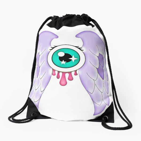 Pastel Goth | Winged Eye | White Drawstring Bag