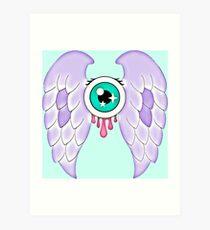 Pastel Goth   Winged Eye   Aquamarine Art Print