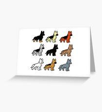 german shepherd colors cartoons Greeting Card