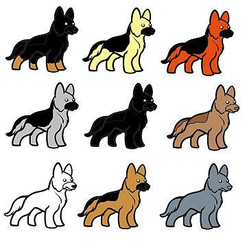 german shepherd colors cartoons by marasdaughter
