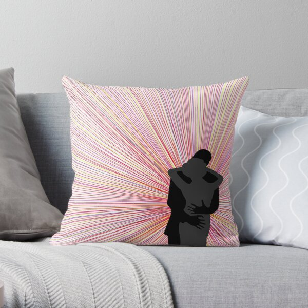 Amore Black and Grey Embracing Silhouettes to Radial Rainbow Background  Throw Pillow