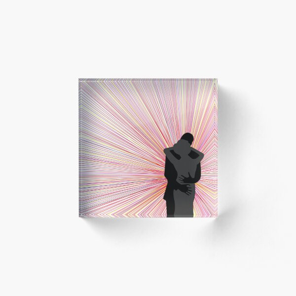 Amore Black and Grey Embracing Silhouettes to Radial Rainbow Background  Acrylic Block