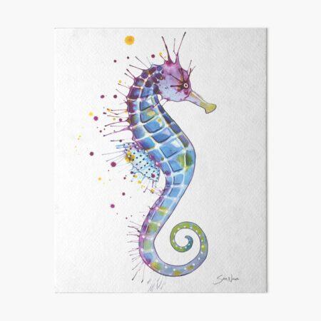 Seahorse - Purple Art Board Print