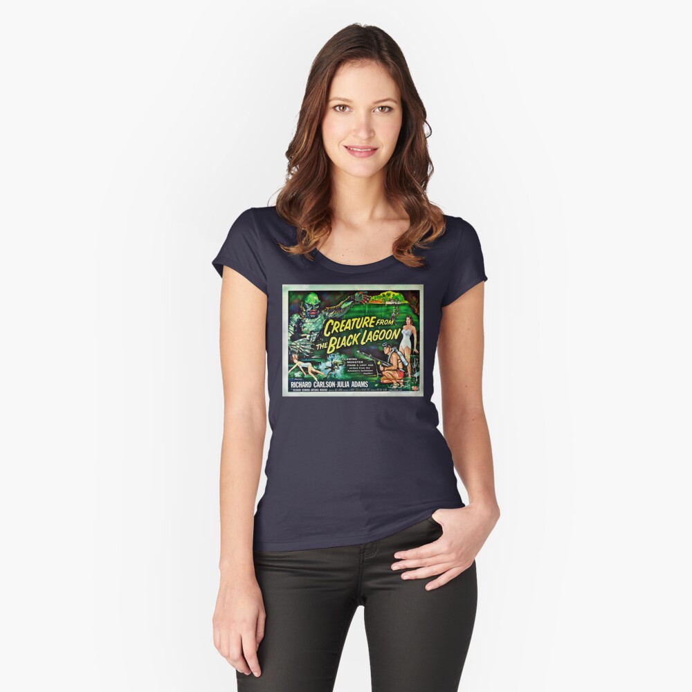 Let's Go for a Swim! 1954 Horror Flick Fitted Scoop T-Shirt