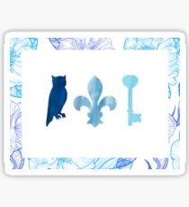Owl, Key and Fleur De Lis Sticker