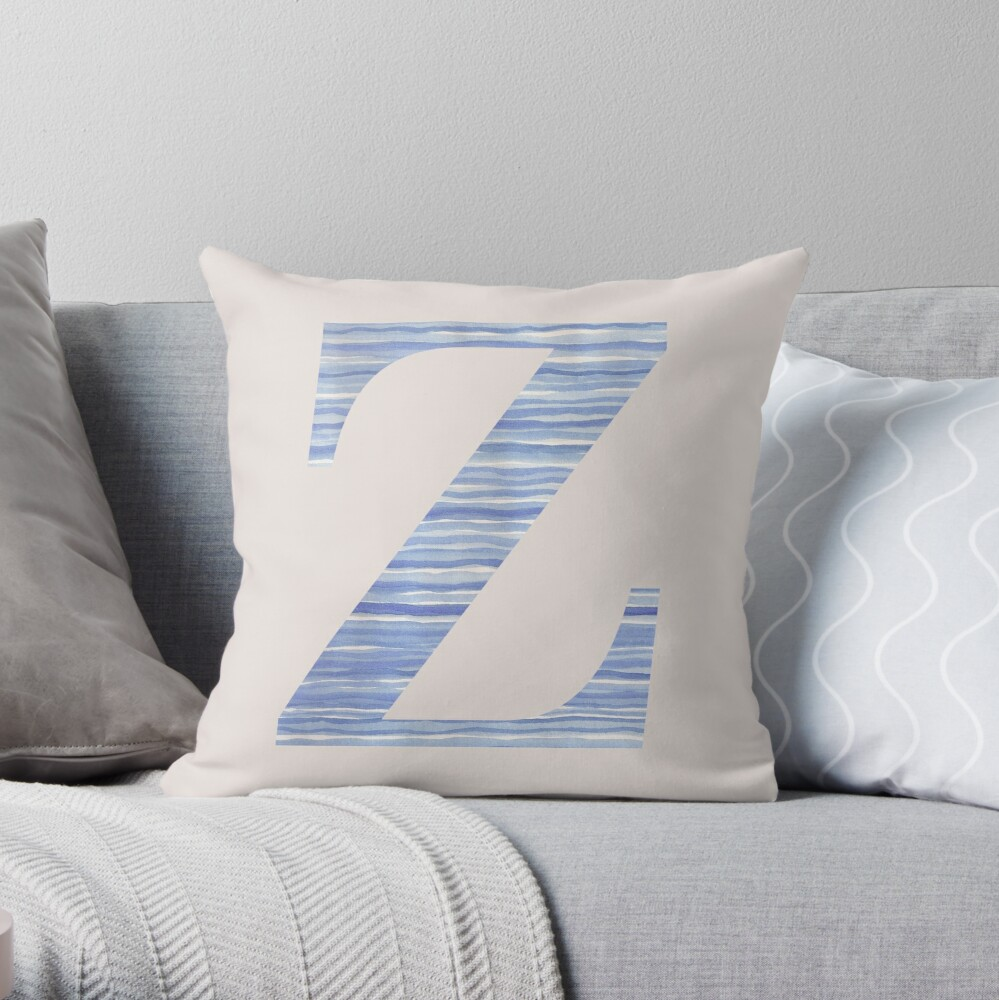 Letter Z Blue Watercolor Stripes Monogram Initial Throw Pillow
