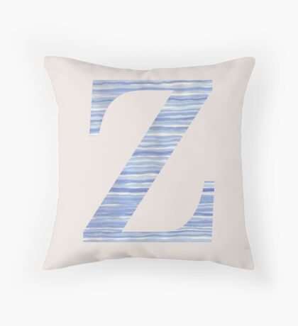 Letter Z Blue Watercolor Stripes Monogram Initial Throw Pillow