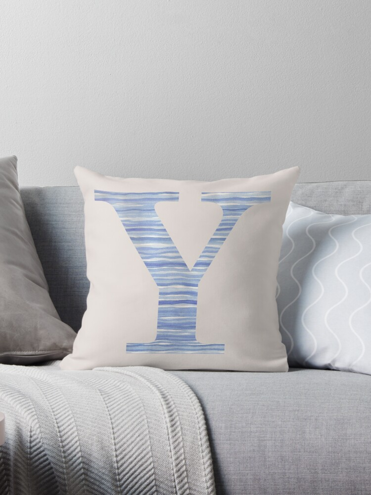 Letter Y Blue Watercolor Stripes Monogram Initial by theartofvikki