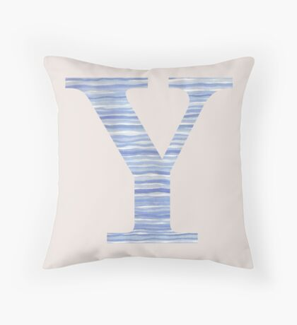 Letter Y Blue Watercolor Stripes Monogram Initial Throw Pillow