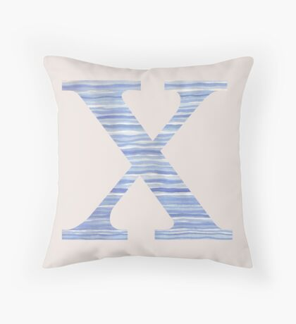 Letter X Blue Watercolor Stripes Monogram Initial Throw Pillow