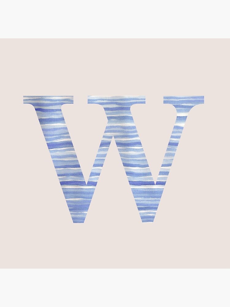 Letter W Blue Watercolor Stripes Monogram Initial by theartofvikki