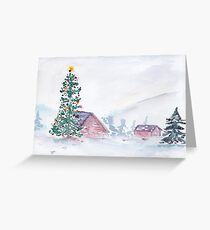 Christmas Farm Scene Greeting Card