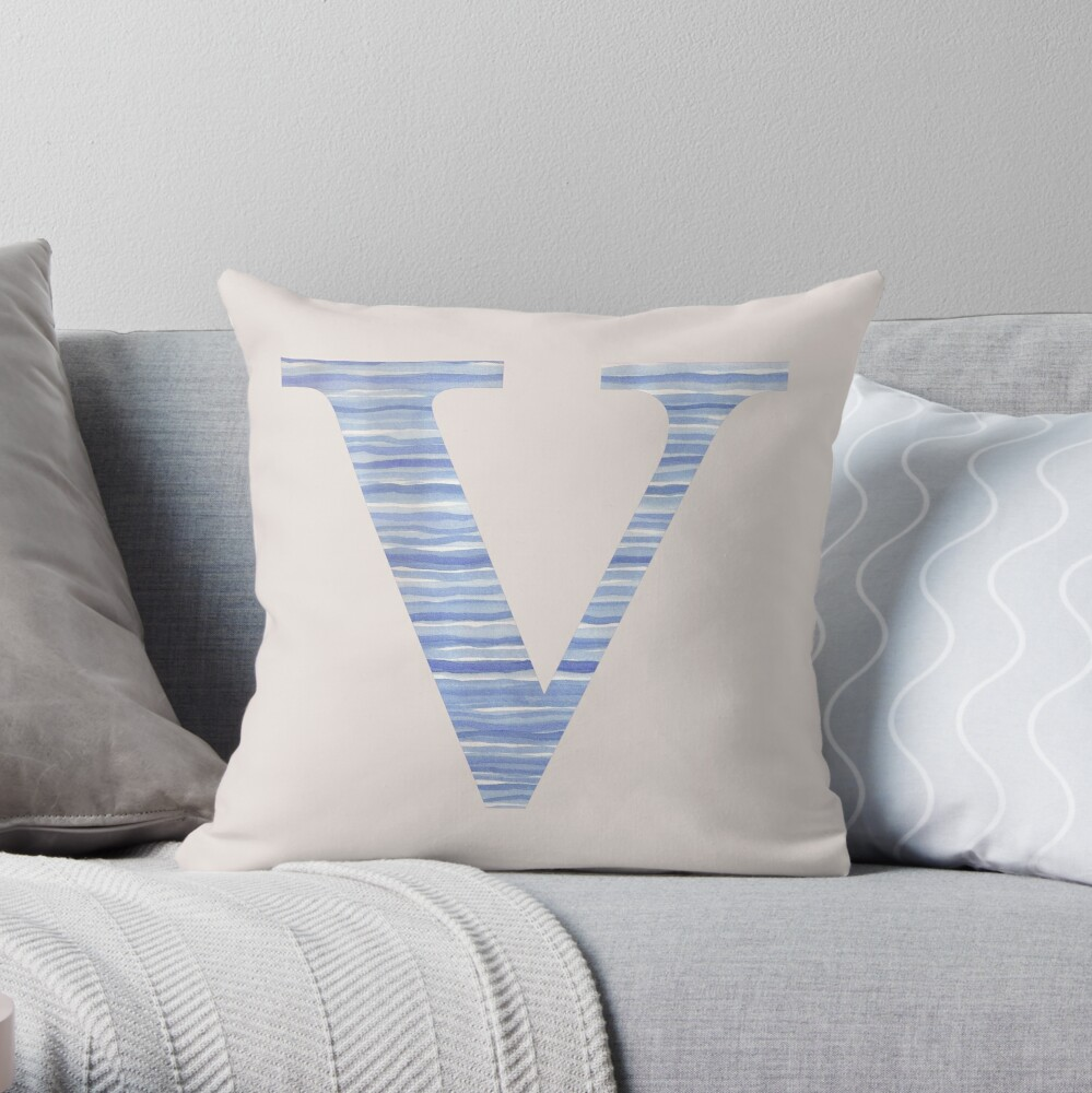 Letter V Blue Watercolor Stripes Monogram Initial Throw Pillow