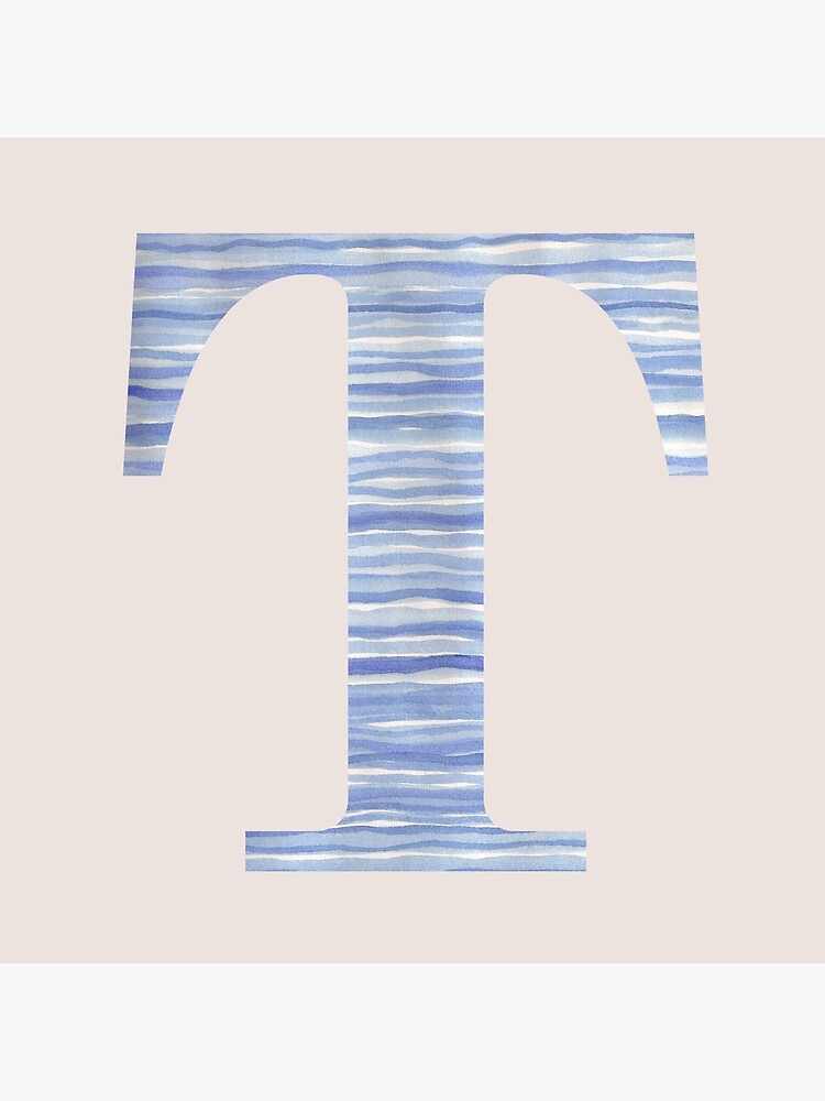 Letter T Blue Watercolor Stripes Monogram Initial by theartofvikki