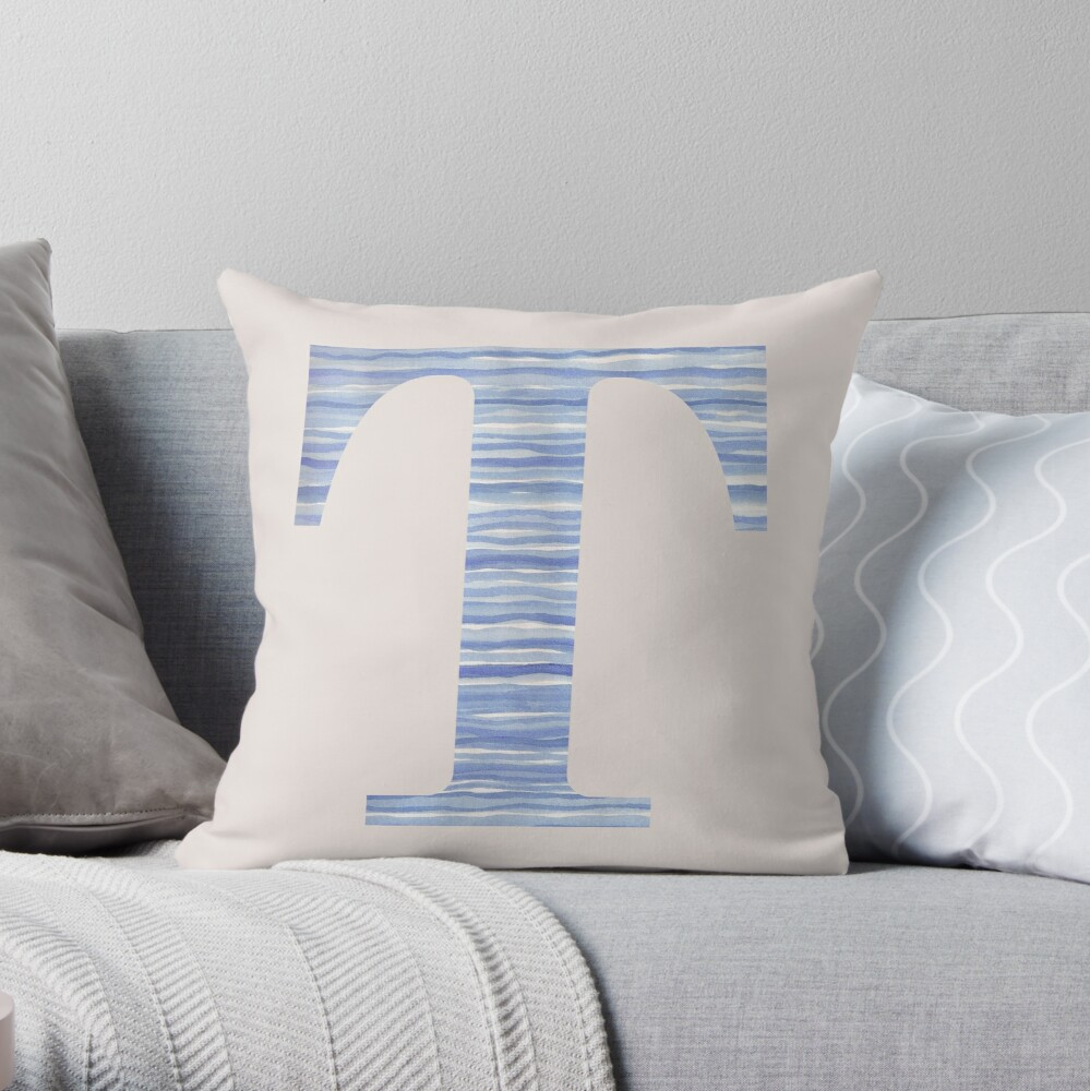 Letter T Blue Watercolor Stripes Monogram Initial Throw Pillow