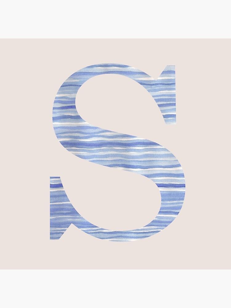 Letter S Blue Watercolor Stripes Monogram Initial by theartofvikki