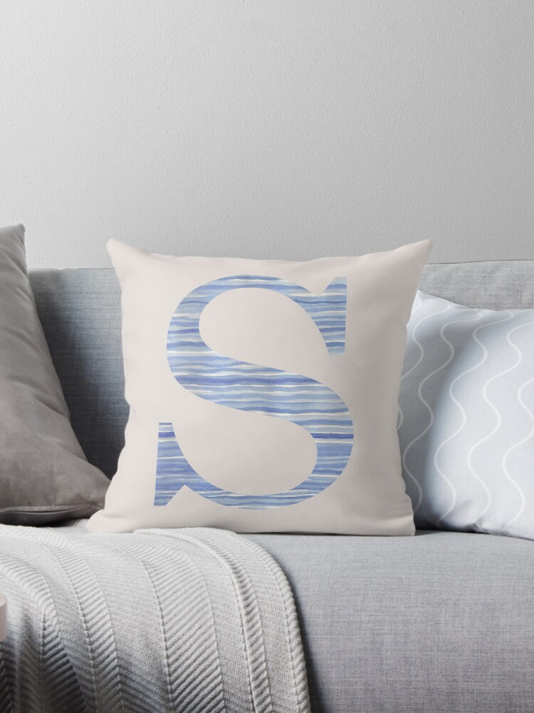 Letter S Blue Watercolor Stripes Monogram Initial by theartofvikki