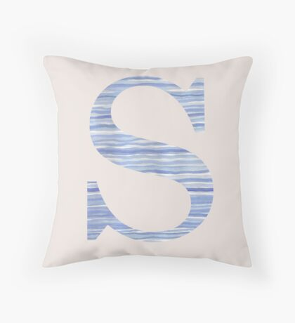 Letter S Blue Watercolor Stripes Monogram Initial Throw Pillow