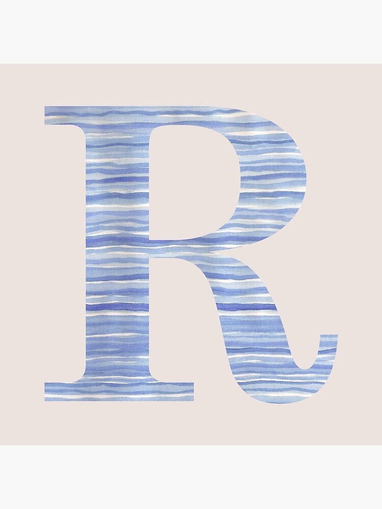 Letter R Blue Watercolor Stripes Monogram Initial by theartofvikki