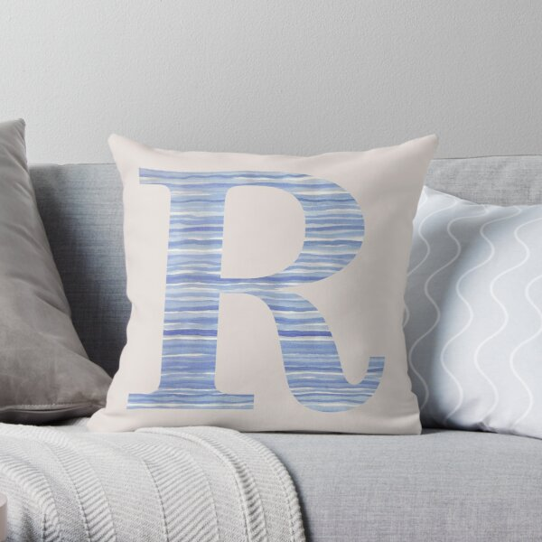 Letter R Blue Watercolor Stripes Monogram Initial Throw Pillow