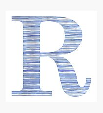 Letter R Blue Watercolor Stripes Monogram Initial Photographic Print