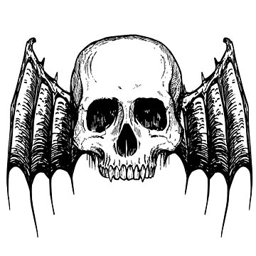 Halloween Scary Skull with Wings Spread by ScottSakamoto