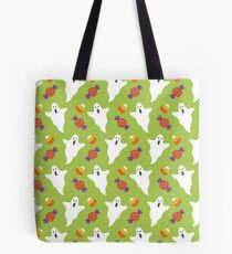 Halloween Ghost Print, Candy Trick or Treat Spooky Pattern Tote Bag