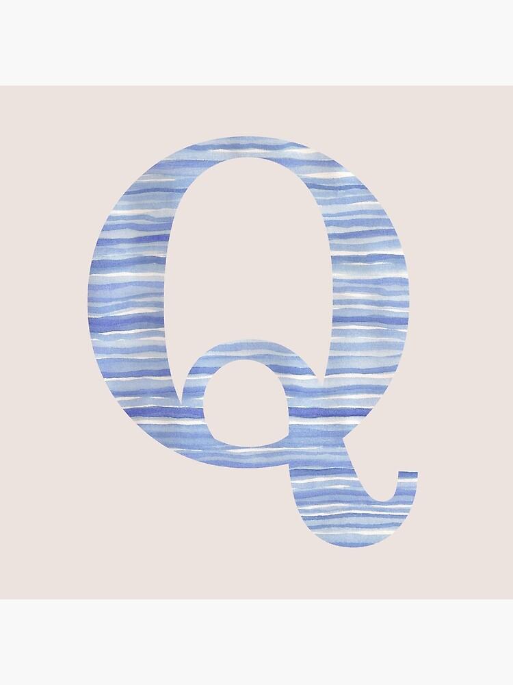 Letter Q Blue Watercolor Stripes Monogram Initial by theartofvikki