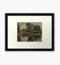 OTTO MODERSOHN (Soest  1865 - 1943 Rotenburg) Village by the water near Worpswede. 1927. Framed Print