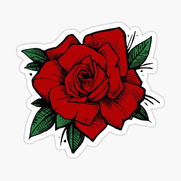 Old School Tattoo Rose Sticker
