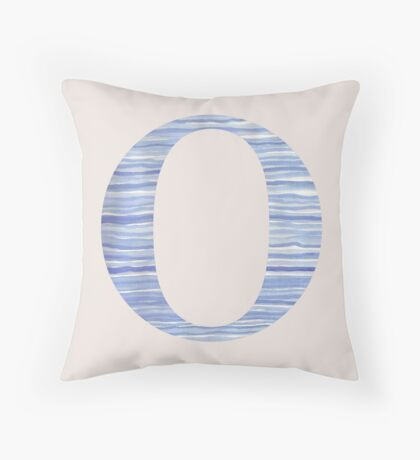 Letter O Blue Watercolor Stripes Monogram Initial Throw Pillow