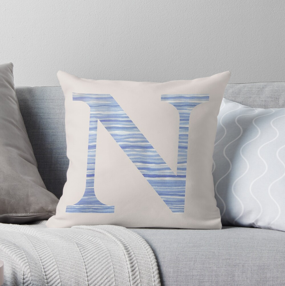 Letter N Blue Watercolor Stripes Monogram Initial Throw Pillow
