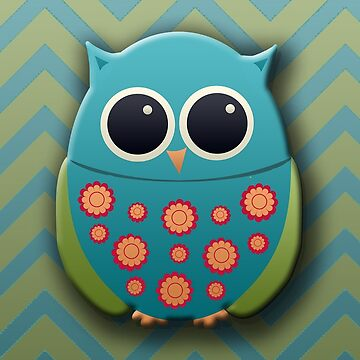 Cute Blue and Green Owl by tsuttles
