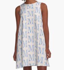 Letter M Blue Watercolor Stripes Monogram Initial A-Line Dress