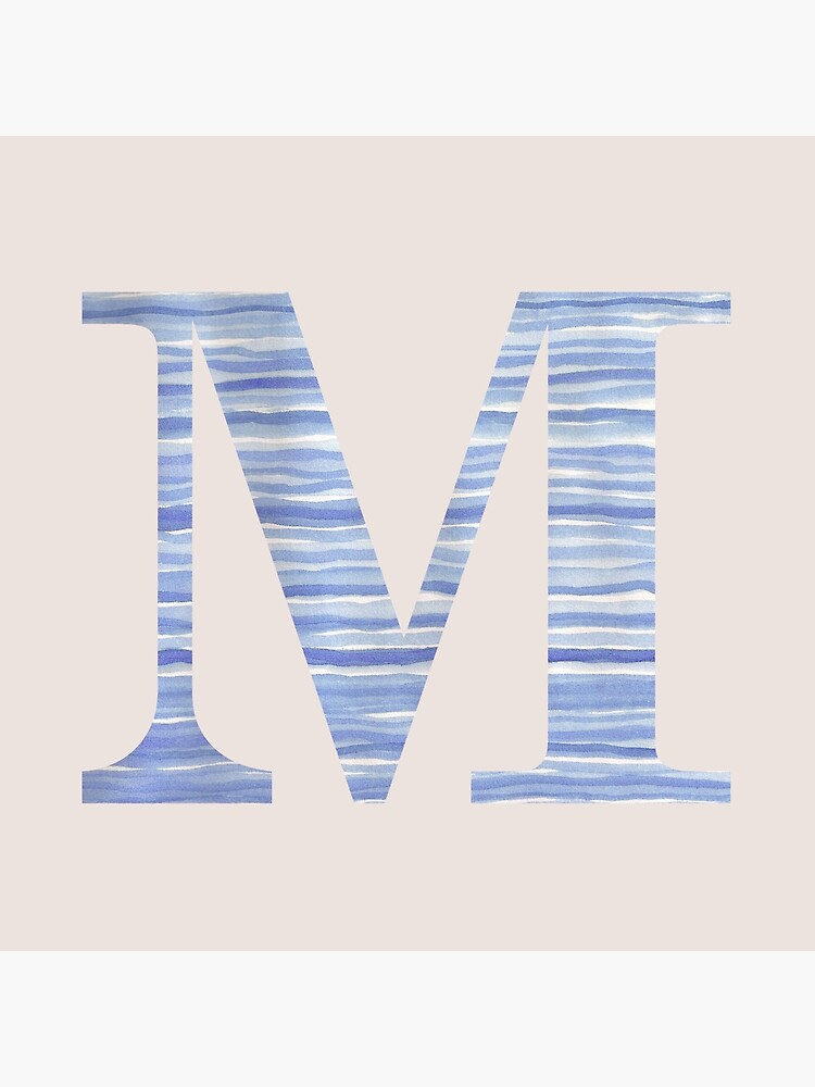 Letter M Blue Watercolor Stripes Monogram Initial by theartofvikki