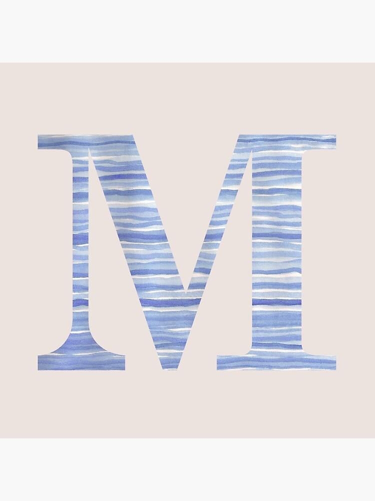 Letter M Blue Watercolor Stripes Monogram Initial by theartofvikki