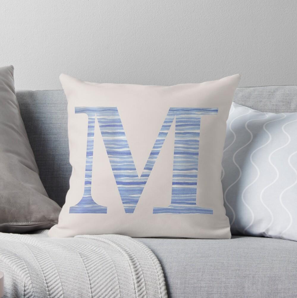 Letter M Blue Watercolor Stripes Monogram Initial Throw Pillow
