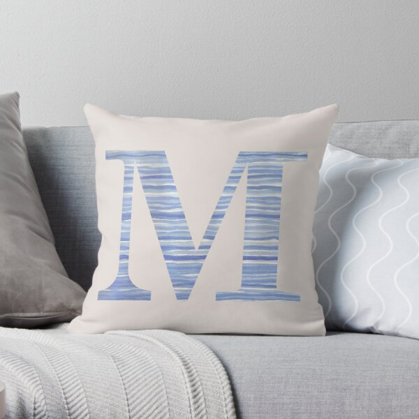 Letter M Blue Watercolor Stripes Monogram Initial Throw Pillow