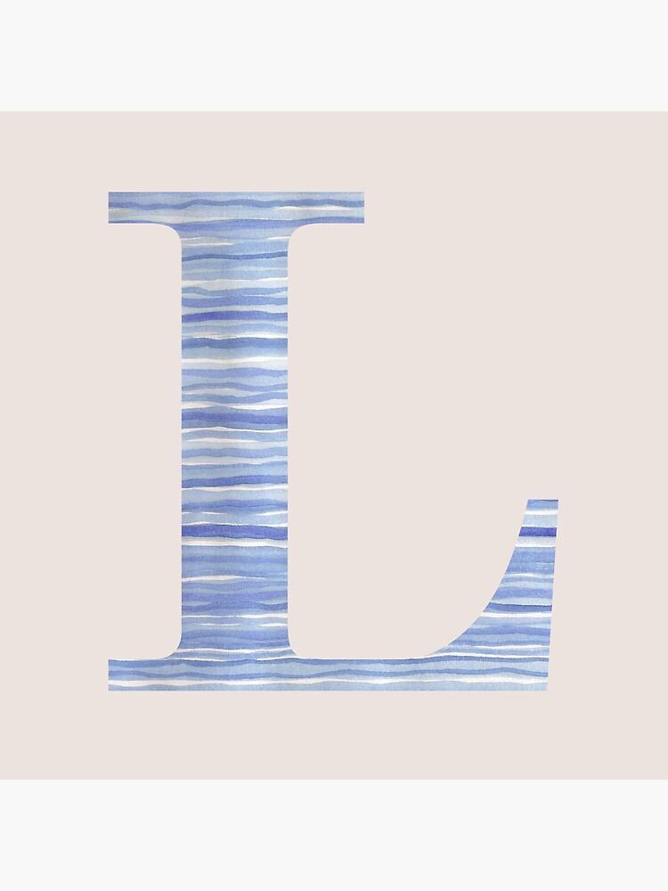 Letter L Blue Watercolor Stripes Monogram Initial by theartofvikki
