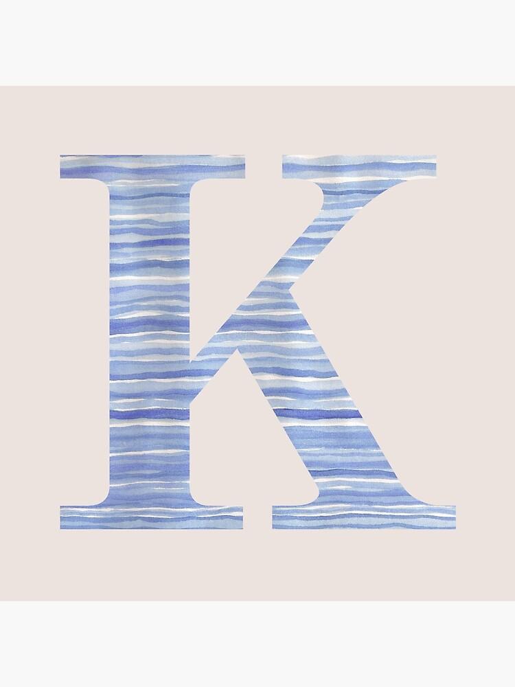 Letter K Blue Watercolor Stripes Monogram Initial by theartofvikki