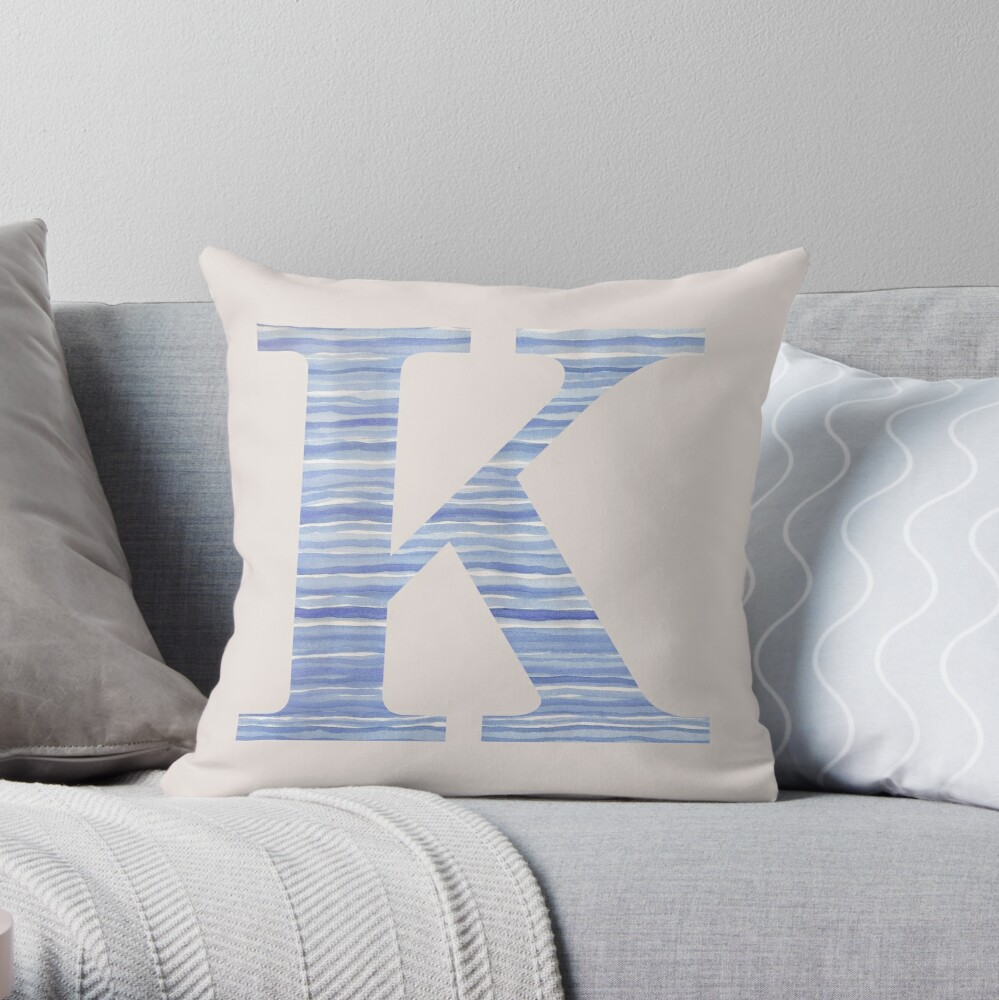 Letter K Blue Watercolor Stripes Monogram Initial Throw Pillow