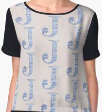 Letter J Blue Watercolor Stripes Monogram Initial Chiffon Top